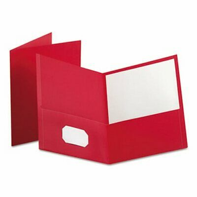 Oxford Twin-pocket Folder Embossed Leather Grain Paper Red Oxf57511