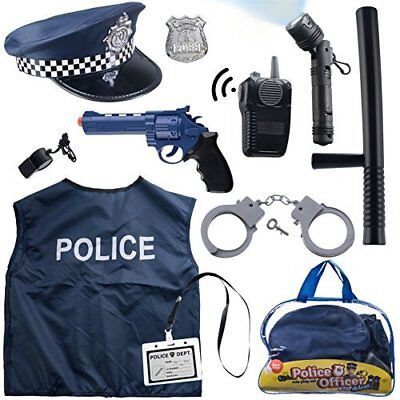 12 Pcs Police Costume for kids with Toy Role Play Kit for Swat, Detective, FBI,](Fbi Costumes For Kids)