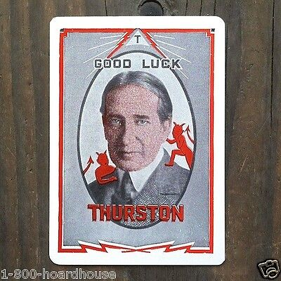 2 Original 1920s THURSTON THE MAGICIAN Jane Throw Out Magic Card GOOD LUCK NOS