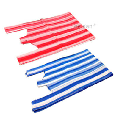 100 x STRIPE RED OR BLUE PLASTIC VEST STYLE CARRIER BAGS 12 x 18 x 22