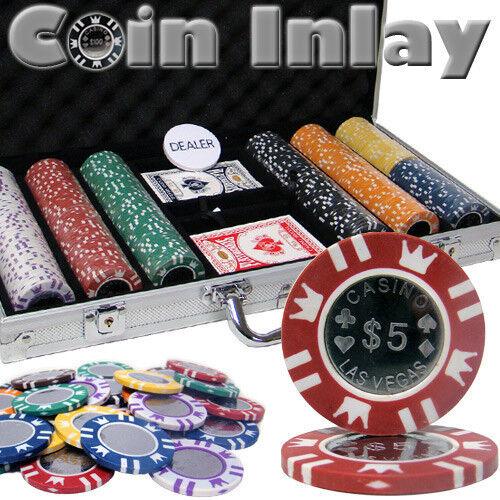 NEW 300 Pc Coin Inlay 15 Gram Clay Denomination Poker Chips Set Aluminum Case