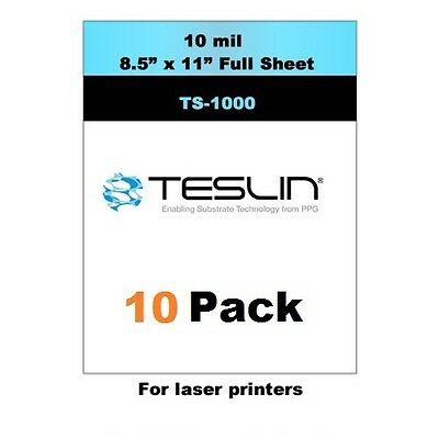 Teslin Synthetic Paper - 8.5 X 11 Sheet For Laser Printers Pack Of 10