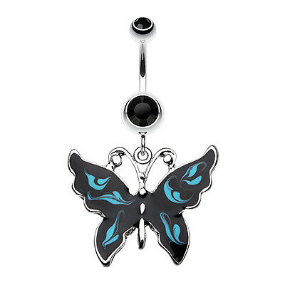 (Marble Butterfly Belly Navel Button Ring Black/Blue 14G)