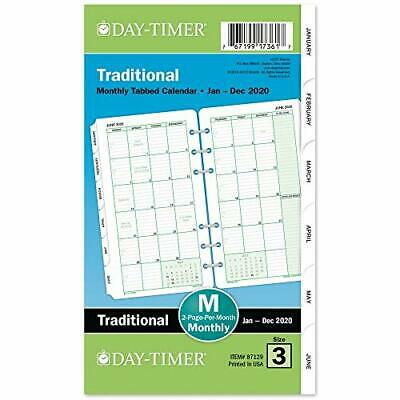 Day-timer 2020 Monthly Planner Refill 3-34 X 6 Traditional 2020 New Edition