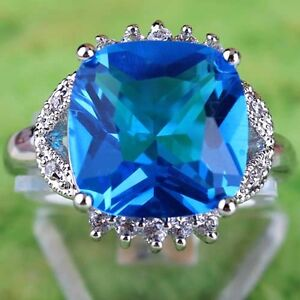 Best-Price-Fresh-Sweet-London-Blue-White-Topaz-Gemstones-Silver-Ring-Size-8