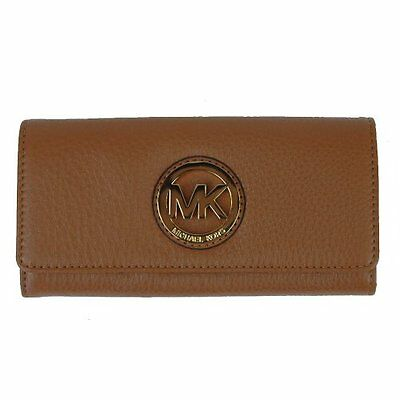 Fabric Continental Wallet - MICHAEL KORS FULTON BROWN LUGGAGE LEATHER+GOLD FLAP CONTINENTAL WALLET,CLUTCH