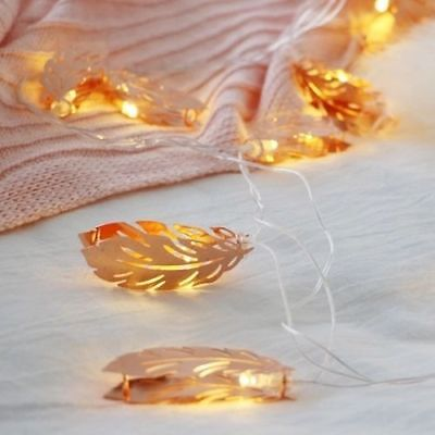 Light Gold Feather Garland String Lights Kids Baby Room Decoration for