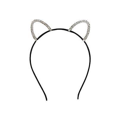 300431 Glitzer Haarreifen Katzenohren Haar Reif Katze Ohr Kostüm Fasching Motto (Katze Ohr Kostüme)