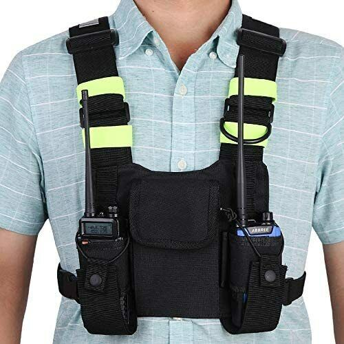 Front Pack Pouch Holster Vest Rig Chest Bag Carry Case Two Way Radio UV-5R