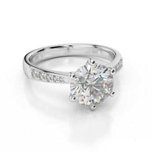 D/VVS1 Engagement Ring 2 Carat Round Cut 14k White Gold Bridal Jewelry