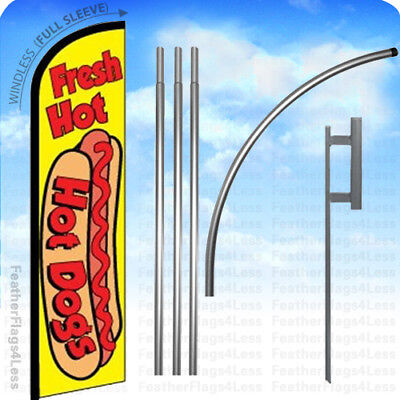 Fresh Hot Dogs - Windless Swooper Flag 15 Kit Feather Banner Sign - Yf
