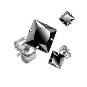 paire boucle d 39 oreille homme femme acier neuve argent carre noir diams zircon k ebay. Black Bedroom Furniture Sets. Home Design Ideas