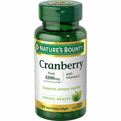 Nature's Bounty Cranberry Fruit 4200 mg, Plus Vitamin C Softgels, 120 Each