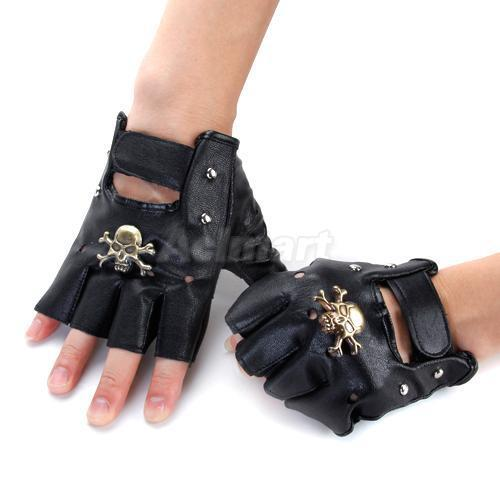 Mens Motorcycle biker Sheepskin Leather Fingerless Half ...