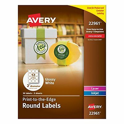 Avery 22961 Glossy White Round 2 Diameter Labels 3 Sheets 36labels