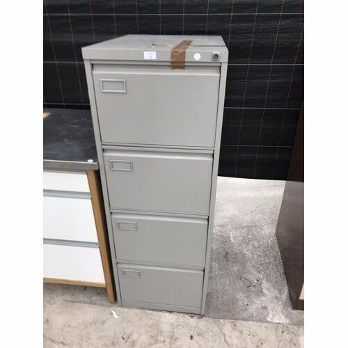 Grey Metal 4 Drawer Filing Cabinet with Key Delivery Available