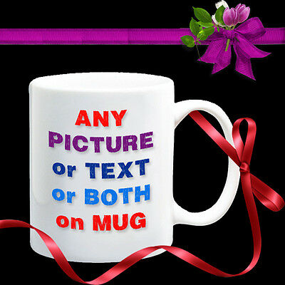 PERSONALISED MUG - YOUR PHOTO & TEXT & DESIGN Coffee Tea Gift. CUSTOM MUG CUP
