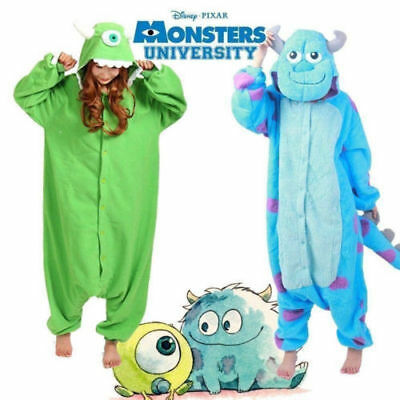 New Hot Adult/Kid Monsters Mike Wazowski&sulley Costume Pajamas-Ones Sleepwear.