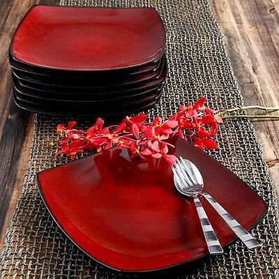 """Gibson Home Soho Lounge 10.5"""" Square Dinner Plates Red Set of 8"""