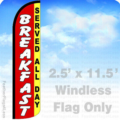 Breakfast Served All Day Windless Swooper Flag Feather Banner Sign 2.5x11.5 Rz