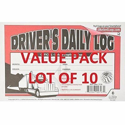 LOT OF 10 JJ KELLER 601L Driver's Daily Log Book W/ Vehicle Inspection Carbon
