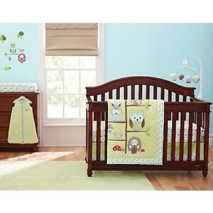 Owl Forest Theme crib bedding set