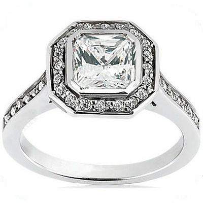 1.30 ct GIA cert. 0.90 ct Radiant Cut Diamond Halo Engagement Ring E Color VS1