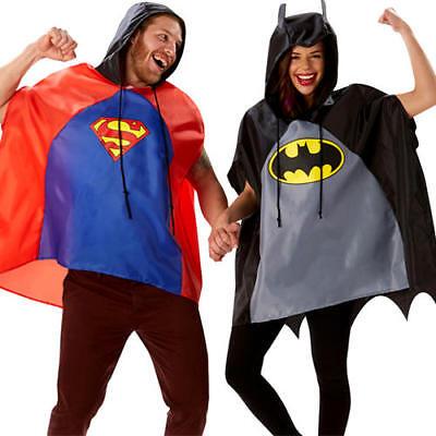 Superman Or Batman Poncho Adults Fancy Dress Comic Superhero Mens Ladies Costume