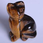 Tiger Eye Carved Cat