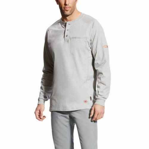 Ariat Mens FR Fire Resistant Air Henley Shirt 10022599 color - Gray