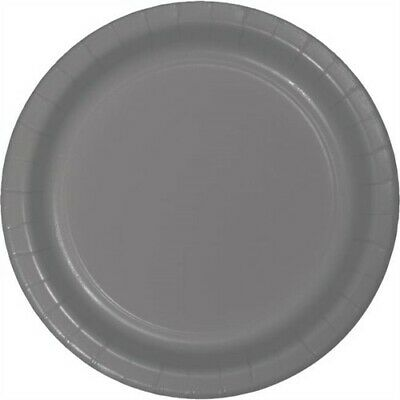 Glamour Gray Heavy Duty 7 Inch Paper Plates 24 Pack Birthday Party Decor - Gray Paper Plates