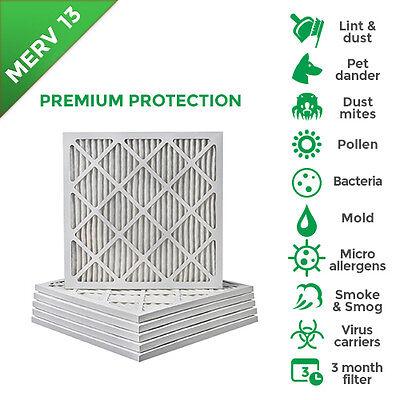 25x25x1 Merv 13 Pleated Ac Furnace Air Filters. 6 Pack