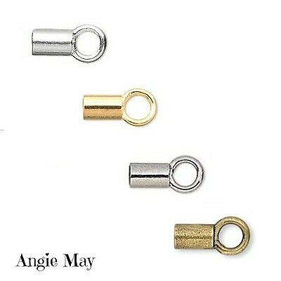 (24 100 Gold Silver Gunmetal Plated Brass Crimp Tube With Loop 3.5 x 2mm Cord End)