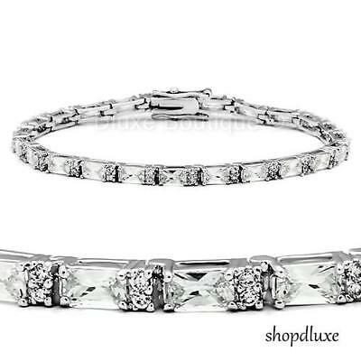 7.35 Ct Baguette Cut Rhodium Plated AAA CZ Cubic Zirconia 7