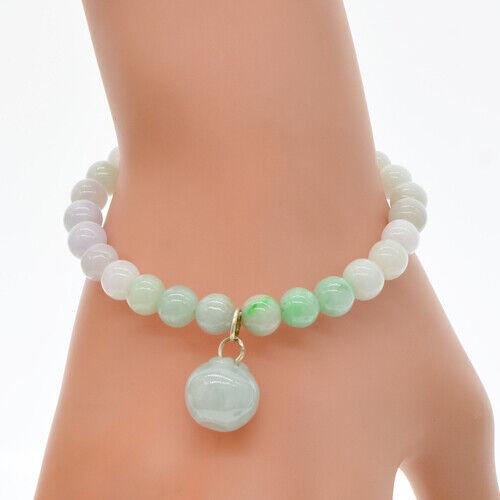 Natural Jade Stone Solid 925 Sterling Silver Bracelet Beads Apple Women Bangle