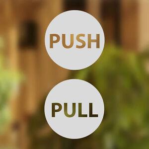Pull Push Door 12cm Stickers Shop Window Salon Cafe Restaurant Office Vinyl Sign