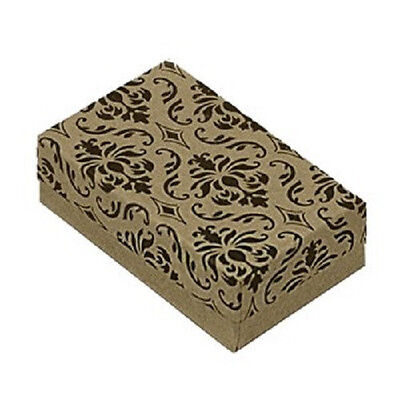 25 Damask Kraft Cotton Filled Jewelry Bracelet Earring Chain Gift Boxes 3 14