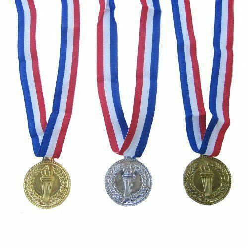 3 Olympic Style Award Medal Set - Gold Silver and Bronze -Great for Party
