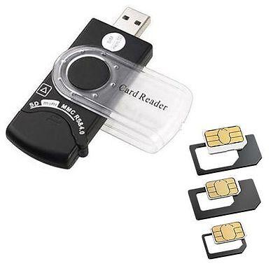USB SIM Card Reader Editor SMS Backup SIM Adapter + CD Black SD TF Card Reader