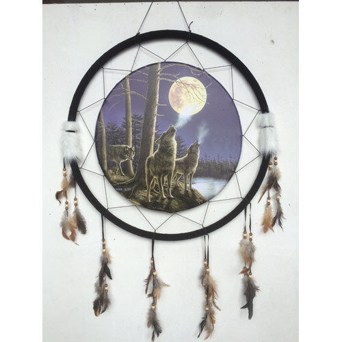 "Giant 26"" Wolf Pack Howling At The Moon Night Scene Dream Catcher Feathers 2673"