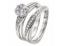 9ct White Gold 1/2 Carat Diamond Cluster Bridal Ring H samuel 8968446