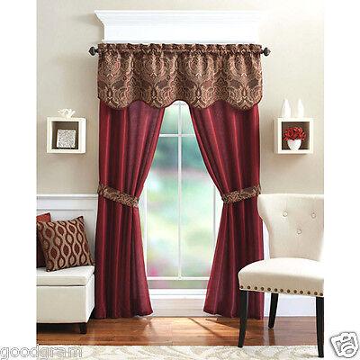 Unique 5 Piece Complete Window Curtain Set With Tiebacks - A