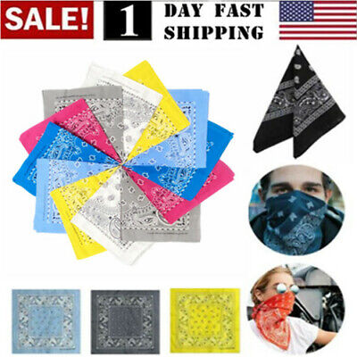 Lot of 12 Bandanas Paisley Print 100% Cotton 22″x22″ Face Covering Mask 6 Colors Clothing, Shoes & Accessories