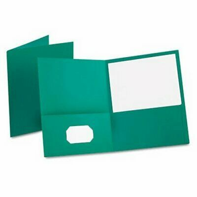 Oxford Twin-pocket Folder Embossed Leather Grain Paper Teal Oxf57555