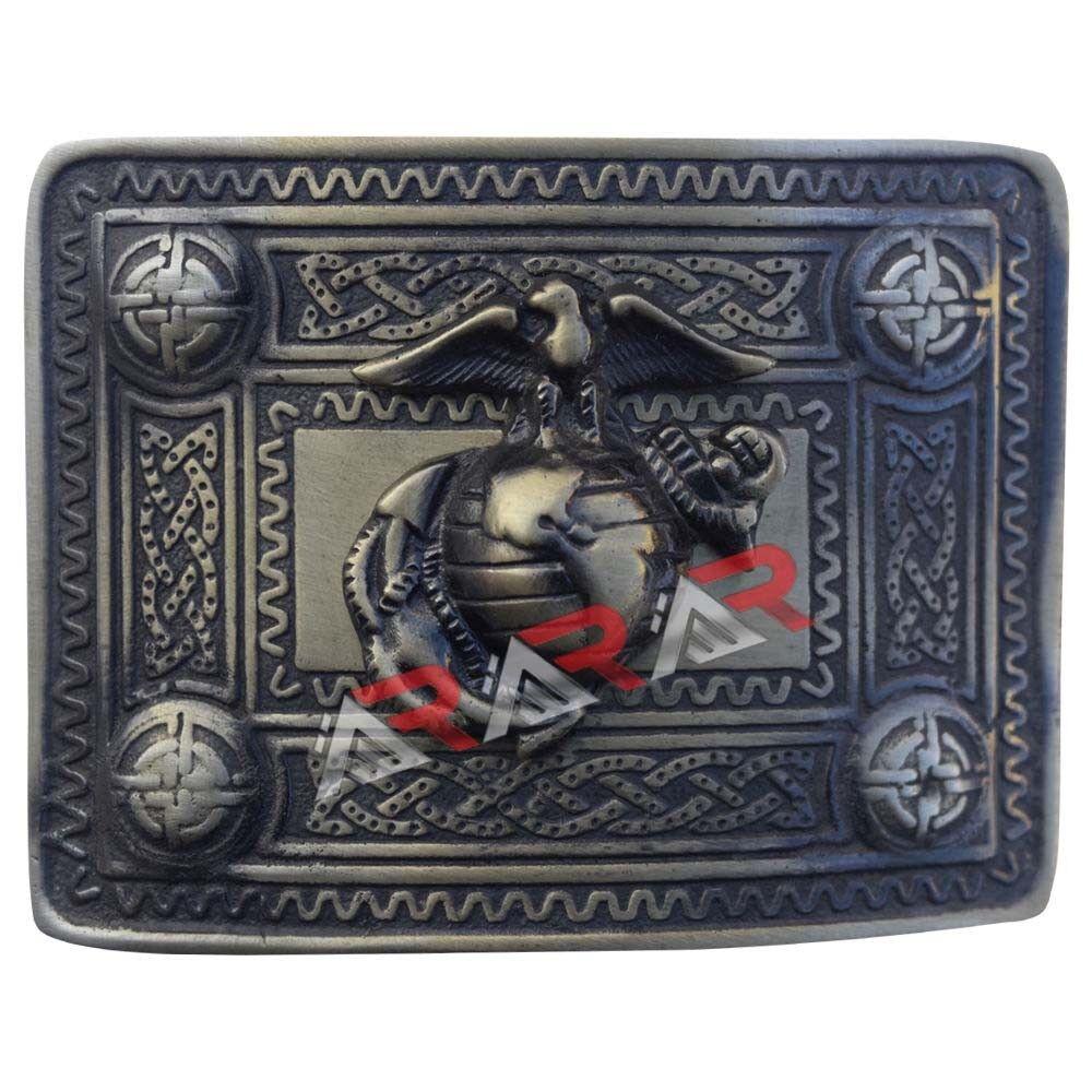 Brand New U.S Marine Kilt Belt Buckle Chrome//Gold and Antique Finish Band Item