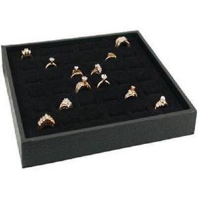 New 2 Plastic 36 Slot Velvet Ring Insert Jewelry Display Tray Holder Case
