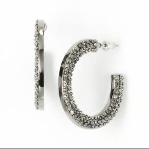 NEW! Simply Vera Wang Exclusive Jet Tone Hematite Studded Hoop Earrings