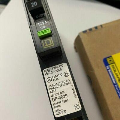 Square D Circuit Breaker 20 Amp 1 Pole 120v 60hz Qo120afi