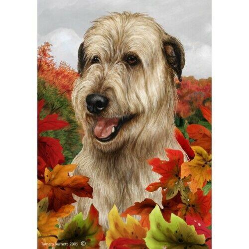 Fall House Flag - Wheaten Irish Wolfhound 13330