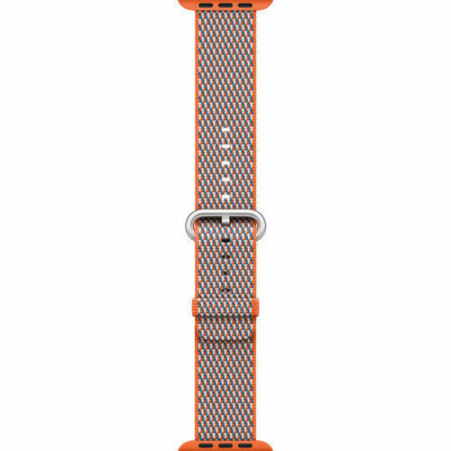 OEM Apple Woven Nylon Apple Watch Band 42mm Spicy Orange Check MQVP2AM/A NEW